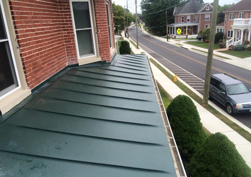 Standing seam porch roof on Main St in Myersville, MD